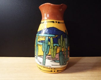 Glazed Desert Landscape Terra Cotta Pottery Small Pitcher Southwest Signed S Zia