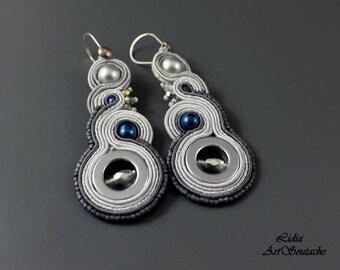 Boho spring, embroidered earrings, long earring, bead embroidery, elegant soutache, bohemian jewelry,
