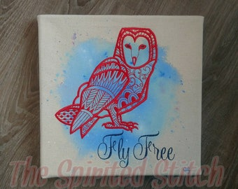 Fly Free Owl watercolor painting with embroidery
