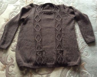 Hand knitted Blue Face Leicester Tunic Sweater