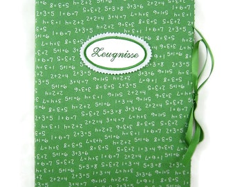 Binder DIN A4 - math green - inside 30 term hull - embroidery button on request