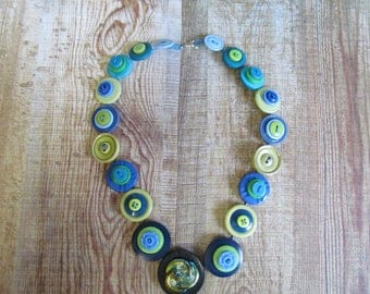 Button Necklace Blue and Green Button Necklace  Retro Vintage