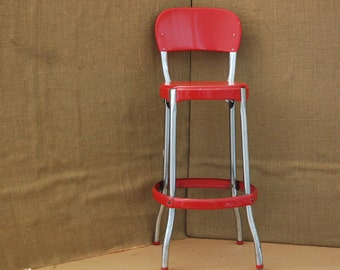 Vintage Industrial Red 1950's Cosco Stool with original paint,  original cosco label on bottom, original leg caps, very solid, great patina