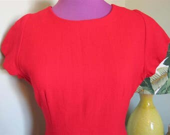CHERRY RED Original Vintage Design 'JONES' of New York Wool Bombshell / Wiggle Dress