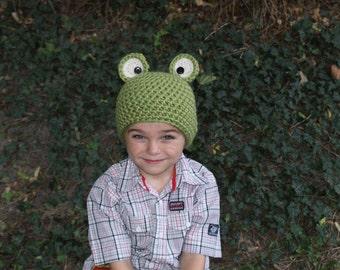 Crochet Frog Hat Pattern. 0-3, 3-6, 6-12, 12-24 months, Preschooler, Child, Adult. - PATTERN ONLY