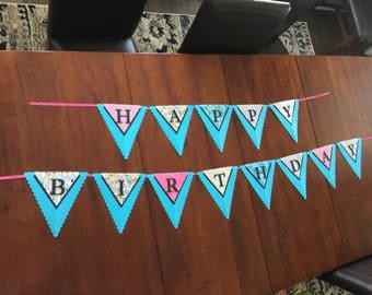 Happy Birthday Pennant Banner, Bright Birthday Banner, Blue Birthday Banner, Fun Birthday Banner