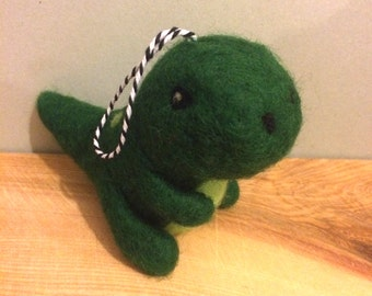 Mini needle felted t rex dinosaur handmade wool ornament