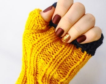 Marigold colorblocked fingerless gloves with navy trim - MADE TO ORDER
