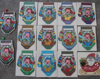 14 Cross Stitch Christmas Ornaments on Plastic Canvas-Gift Tags-Almost Completed-You Personalize