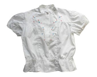 FRENCH VINTAGE 50's / kids / shirt / blouse / white cotton fabric / floral embroideries / new old stock / size 8 years