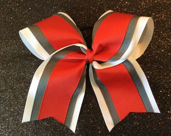 White Gray Red Grosgrain Cheer Bow Softball Bows Volleyball Bows Soccer Bows