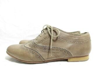 vintage camel beige all leather wingtip flat oxford shoes, size : EU 37 / UK