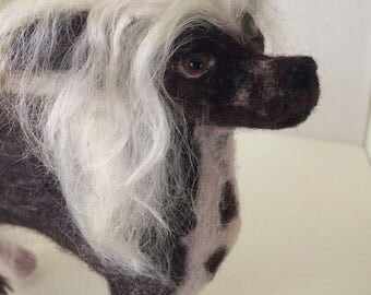 now sold.Needle felted Chinese crested dog..