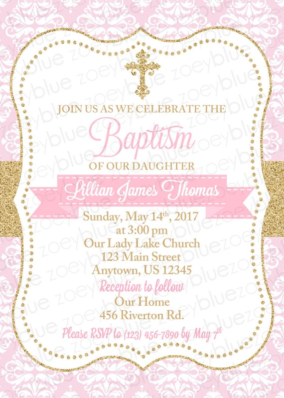 baby girl baptism invitation