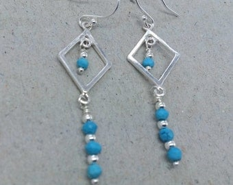 Turquoise Sterling Silver Long Dangle Earrings, Diamond Shape Earrings, Sleeping Beauty Turquoise, Blue Turquoise Gemstone Earrings,