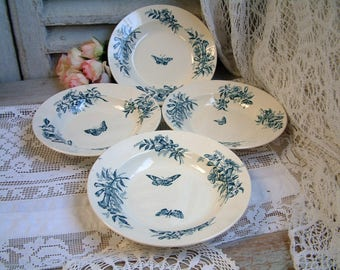 Set of 4 Antique french teal transferware soup plates. Teal transferware. Jasmine. Butterflies. Blue green transferware. salad plates.
