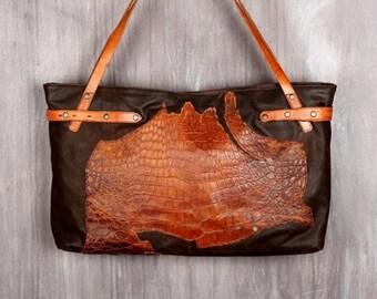 Recycled Leather Bag / Upcycled Bag / Tribal Bag / Handmade Bag / Brown Leather Bag / Reptile Bag / Brown Leather /