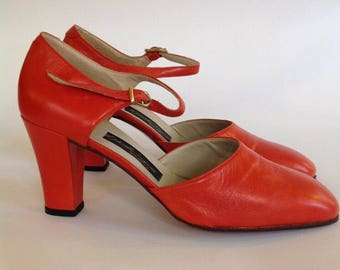 Vintage 70 's heel shoes mary jane red coral red size 37 uk4