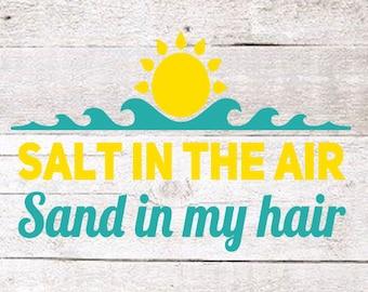 Salty Hair Decal   Salt in the air decal   Yeti decal   Beach Decal