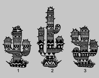 Aztec Cactus Decal | Mandala Cactus Decal | Cactus Yeti Decal | Cactus Decal | Cute Decal | Laptop Decal
