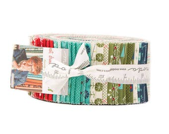 """Moda Fabrics Eat Drink & be Ugly by Sandy Gervais Jelly Roll 2.5"""" PreCut Quilting Cotton Strips Fabric Strips - Christmas"""