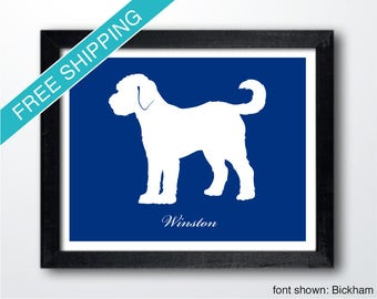 Personalized Goldendoodle Silhouette Print with Custom Name - Goldendoodle art, dog portrait, dog gift
