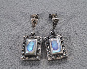 vintage sterling silver dangle drop earrings with rectangular blue abalone in a decorative marcasite setting  M3