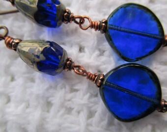 Gorgeous Cobalt Blue Czech Glass Earrings Long Dangle Hippie Earrings Sun Catchers for Your Ears Hypoallergenic Niobium French Hooks