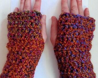 Burgundy Fingerless Gloves Crocheted Fingerless Gloves Purple Fingerless Gloves Orange Fingerless Gloves