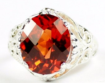 Created Padparadsha Sapphire, 925 Sterling Silver Ring, SR114