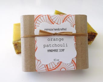 Handmade Orange Patchouli Soap, Cold Process Soap, Vegan Soap 4.5oz