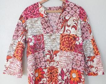 vintage dashiki pink & orange batik  tunic top *