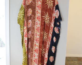 vintage tribal print tunic caftan dress