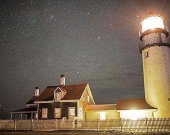 Highland Light Truro MA, Cape Code, Lighthouse Photography, Lighthouse Art, Lighthouse Print, Lighthouse Decor, Astrophotography
