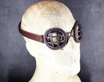STEAMPUNK GOGGLES leather hand made  Halloween apocalypse biker dieselpunk cyberpunk gear