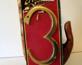 Vintage brass house number, number 3, brass numbers,solid brass house number 3, 6 inch house number