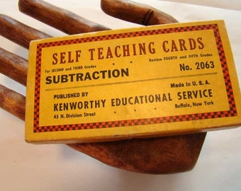 Self teaching Subtraction flash cards for second and third graders, flash cards, learning game, self teaching math cards, flash card set