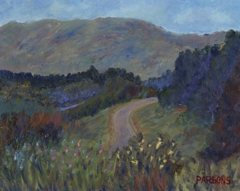 New Hampshire Road, original impressionist oil painting signed by Pamela Parsons, White Mountains, Kancamagus Highway New Hampshire painting