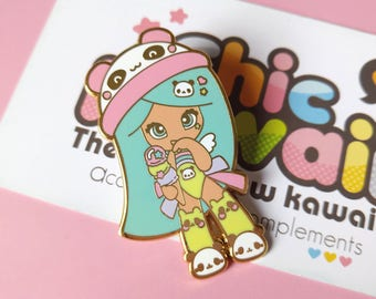 Enamel pin Chic Kawaii super sweet kawaii panda girl enamel pins