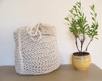 Hand knit cotton bag, tote bag, rope bag, beach bag, cord bag, hand bag, shoulder bag, shopper bag, shopping tote, choose your lining