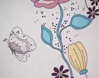 Floral Butterfly Kitchen towel Tea towel Cotton towel 18'x28' (45X70 cm)  Floral Butterfly dish towel Floral Butterfly tea towel