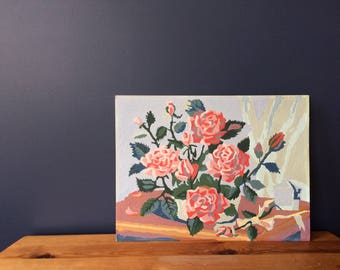 PBN Vintage Paint By Number Flowering Roses Still life