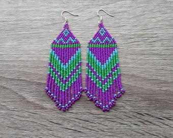 Blue Green Purple Earrings.  Native American Beaded Earrings Inspired. Gift For Her. Long Earrings. Beaded Earrings. Beadwork