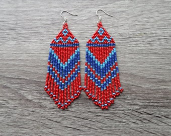 Blue Red Earrings.  Native American Earrings Inspired. Gift For Her. Beaded Earrings. Dangle Earrings. Beadwork