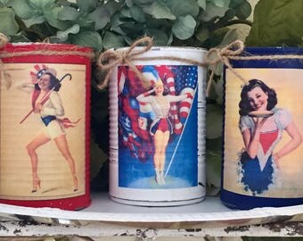 3 PIN UP Rolf Americana Rustic Painted Tin Can Set Vases Patriotic Summer Party Decor Americana Flag Memorial Independence Day 4th of July 4