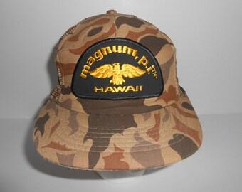 Vintage 80s Tom Selleck Magnum P.I. Hawaii Camo Trucker Snapback Cap Hat