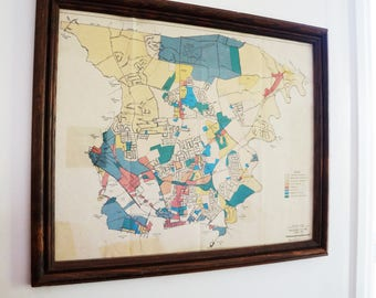 Vintage map of Lancaster PA, framed
