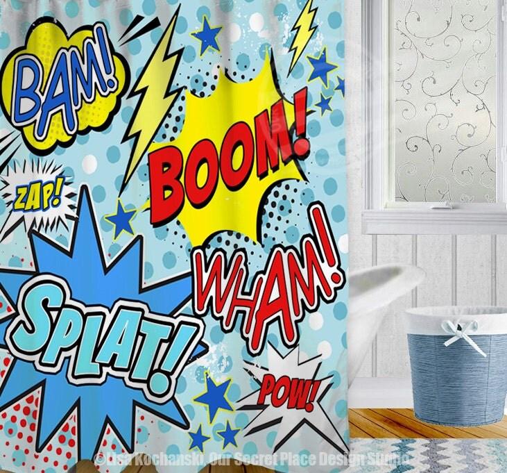 Superman Bathroom Decor: Superhero Shower Curtain Superhero Bathroom Decor Comic Book