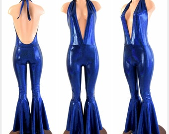 "Blue Sparkly Jewel Metallic ""Josie"" Halter Catsuit with Bell Bottom Flares 154184"