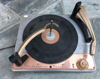 Silvertone Medalist Record Player, For Parts, AS IS, Replacement Parts,  Model 8250A,  Hi Fi, Vintage Electronics, Copper WTH-1634